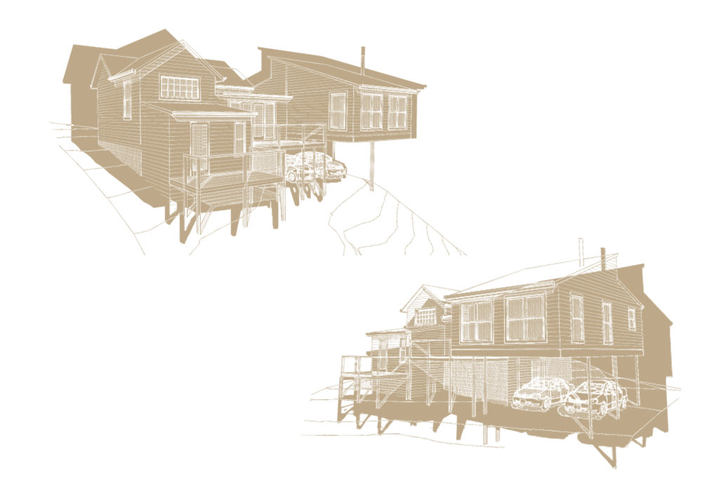 Tan coloured 3D house illustrations